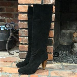 Joie tall black suede heeled boots size 39